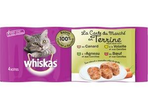 Boîtes en terrine 4 variétés de viande chat - 4x400g