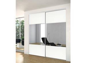 Porte recoupable 1P 61,4 cm BNS miroir blanc