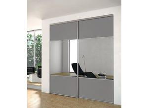 Porte recoupable 3P 91,4 cm gris souris miroir gris