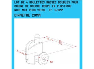 Lot de 4 roulettes double noir mat ø20mm