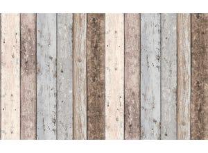Vinyle imitation planche bois marron/gris bleu