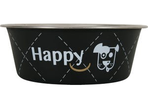 Ecuelle inox Happy Ø21cm pour chiens 1,5L Noir