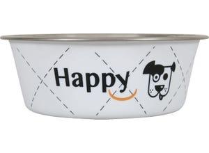 Ecuelle inox Happy Ø25cm pour chiens 2,65L Blanc