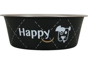 Ecuelle inox Happy Ø25cm pour chiens 2,65L Noir