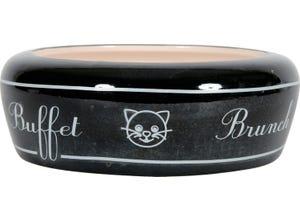 Ecuelle céramique anti-rejet pour chat Ø13cm 0,3L Noir