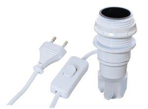 Adaptateur bouteille E14 + inter. fil fiche blanc