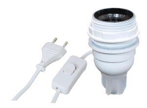 Adaptateur bouteille E27 + inter. fil fiche blanc