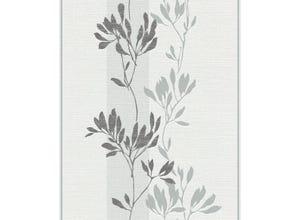 Papier peint vinyle à rayures et fleurs blanc/gris