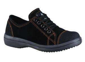 Chaussure sécurité femme basse en cuir velours noir