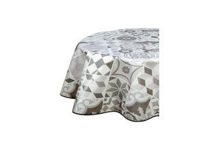 Nappe biais ovale 150x230 cm - Carreaux ciment gris