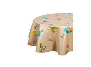 Nappe biais ovale 150x230 cm - Chicken taupe