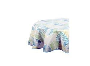 Nappe biais ovale 150x230 cm - Palmette bleu