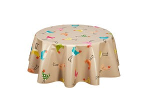 Nappe biais ronde 150 cm - Chicken taupe