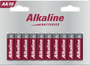 Blister 10 piles AA alcalines LR6 1,5 V