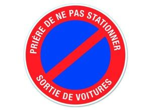 """Disque signalisation """"sortie de voitures"""" pvc avec adhésif"""