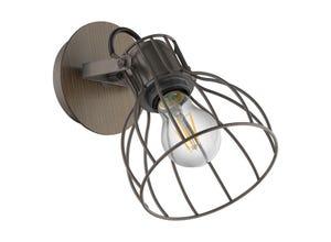 Applique 1 ampoule E27 40 W acier marron / argent EGLO