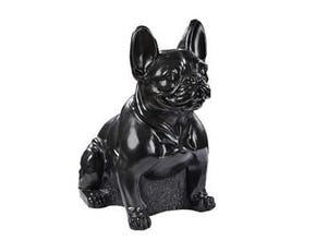Bouledogue assis cire noir