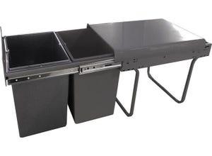 Kit poubelles 2 bacs 20 litres gris pour meuble de 400
