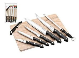 Planche en bois + 5 couteaux de cuisine + Éplucheur + Fusil