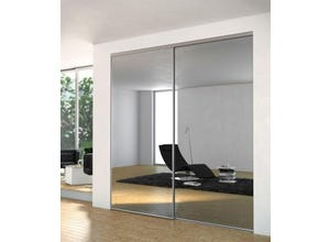Porte recoupable 1P 91,4 cm miroir argent gris