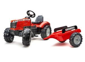 Tracteur à pédales Massey Ferguson S8740 rouge avec remorque
