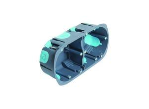 Boite 2 postes multimatériaux stopair D67mm P40mm gris/bleu