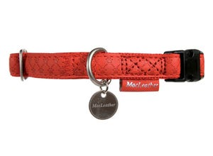 Collier mc leather chien 15mm - 28 à 38cm - rouge