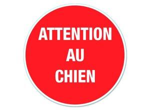 """Disque signalisation """"Attention au chien"""" pvc avec adhésif"""