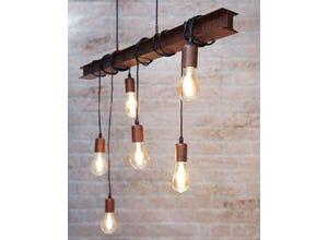 Suspension/6 60w E27 acier + bois marron rustique