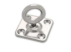 Anneau fixation mobile sur platine carrée acier inoxydable