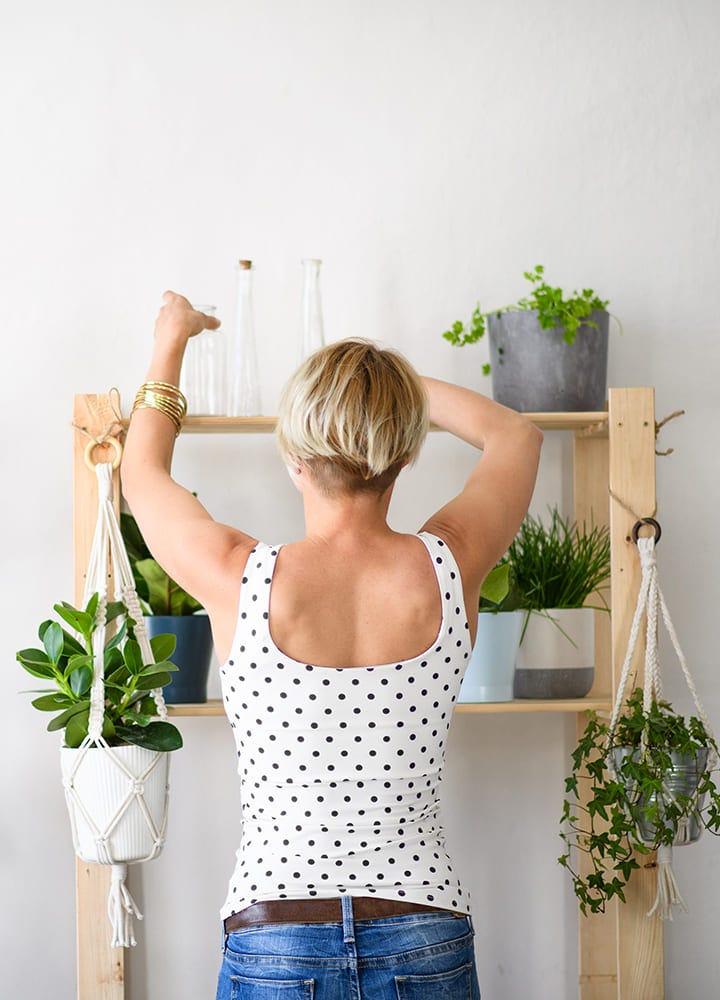 contruction d'étagères pour plantes