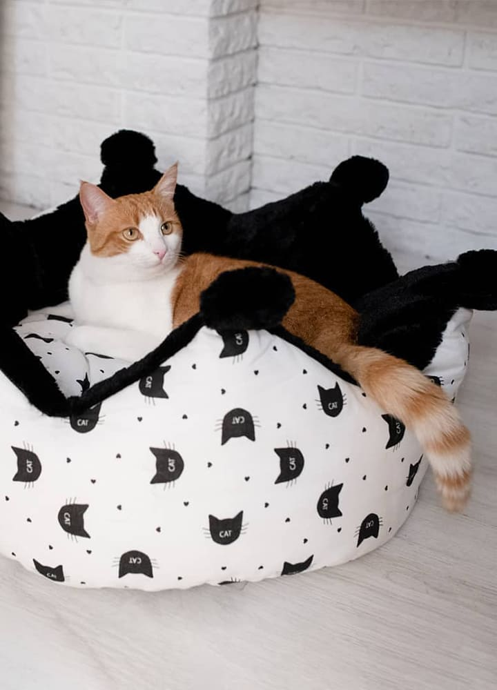 couchage pour chat avec pompons